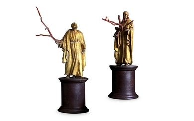 A PAIR OF 19TH CENTURY ITALIAN GILTWOOD AND COPPER FIGURES OF SAINTS