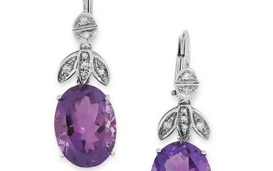 A PAIR OF AMETHYST AND DIAMOND EARRINGS in 18ct white