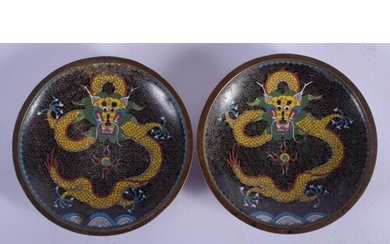 A PAIR OF EARLY 20TH CENTURY CHINESE CLOISONNÉ ENAMEL DISHES...