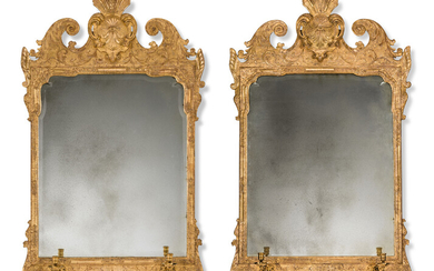 A PAIR OF GEORGE I GILT-GESSO GIRANDOLE MIRRORS