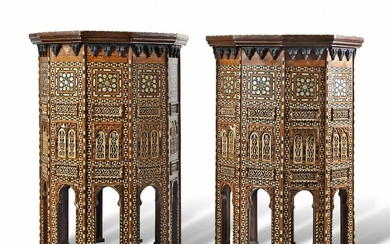 A PAIR OF LARGE AND IMPRESSIVE DECAGONAL OTTOMAN