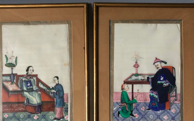 A PAIR OF PAINTING ON RICE PAPER WITH FRAME. REPUBLIC PERIOD
