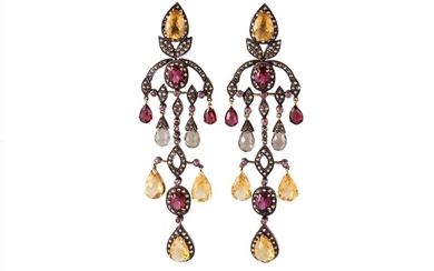 A PAIR OF PINK TOURMALINE, CITRINE AND DIAMOND DROP EARRINGS