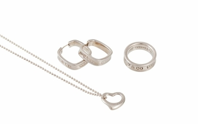 A PAIR OF SILVER HOOP EARRINGS, a silver ring and a silver h...