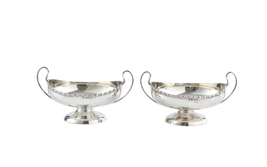 A PAIR OF STERLING SILVER HANDLED BOWLS CHARLES S. GREEN & CO. LTD, BIRMINGHAM, CIRCA 1913