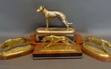 A Pair of Brass Models in the Form of Racing Greyhounds, tog...