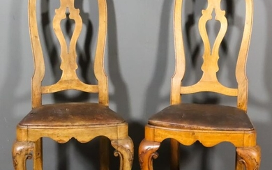 A Pair of Continental Walnut High Back Dining Chairs...