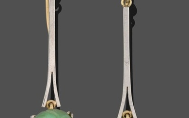 A Pair of Jade and Cultured Pearl Drop Earrings, an...