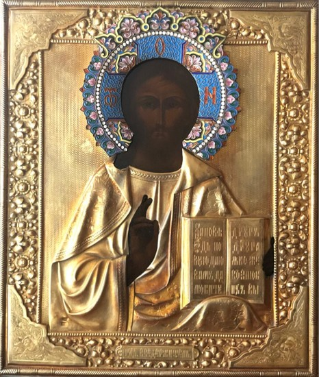 A Russian Icon of Christ Pantocrator with Gilt-Silver and Cloisonne Enameled Oklad by Grigory Sbitnev.