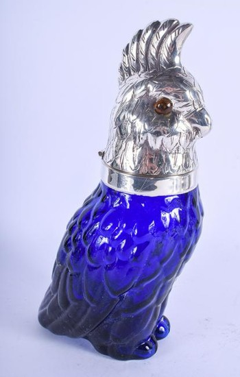 A SILVER PLATED COCKATOO DECANTER. 26 cm high.