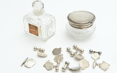 A STERLING SILVER TOPPED JAR, FRENCH CRYSTAL PERFUME BOTTLE AND NINE STERLING SILVER CUFFLINKS, LEONARD JOEL LOCAL DELIVERY SIZE: SMALL