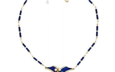 A Victorian blue enamel, diamond and pearl necklace