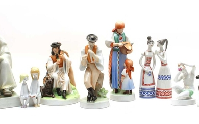 A collection of Hungarian Zsolnay Pecs porcelain figures