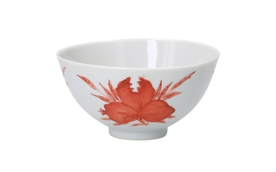(-), A coral red and white porcelain bowl,...