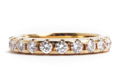 A diamond eternity ring set with numerous brilliant-cut diamonds weighing a total of app. 1.47 ct., mounted in 14k gold. F-G/VVS-VS. Size 54.