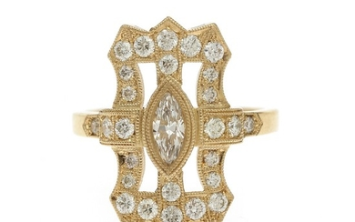 A diamond ring set with a marquis-cut diamond weighing app. 0.37 ct. encircled by numerous brilliant-cut diamonds totalling app. 0.67 ct., mounted in 14k gold.