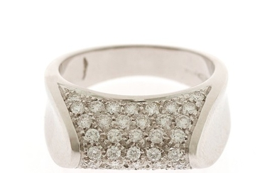 A diamond ring set with numerous brilliant-cut diamonds, mounted in 18k white gold. Size 56.