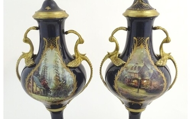 A matched pair of Sevres style lidded urn garnitures on moun...
