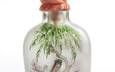 A painted glass snuff bottle with with Momo or Cerasuolo...
