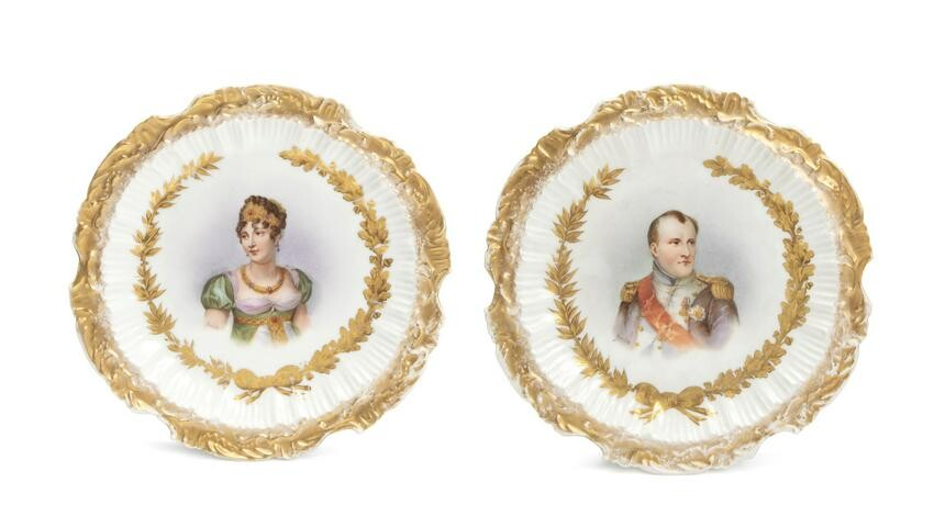 A pair of Sevres-style portrait plates