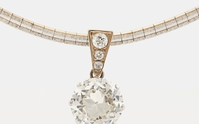 A platinum and 14K white gold pendant set with an old-cut diamond weight ca 3.00 cts quality ca K/L vs