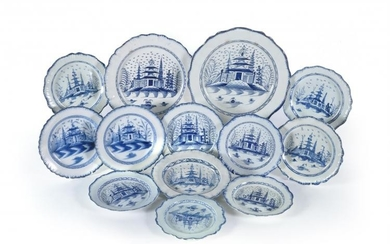 A selection of Staffordshire blue and white pearlware plates