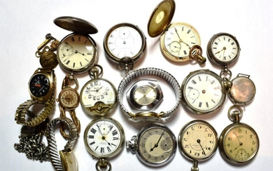 A selection of pocket and wristwatches consisting of a Trench...