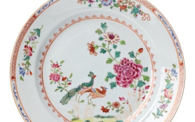A set of nine famille rose 'double peacock' dinner plates, Qing dynasty, Qianlong (1736-95).
