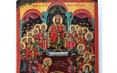 A very fine Greek icon. Depicting Christ in Majesty. Christ...