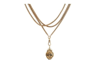 AN ANTIQUE 14CT GOLD MUFF CHAIN, snake link, suspending a 9c...