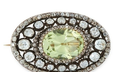AN ANTIQUE CHRYSOLITE AND DIAMOND BROOCH, 19TH CENTURY
