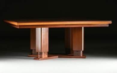 AN ART DECO ROSEWOOD DINING TABLE, POSSIBLY AMERICAN