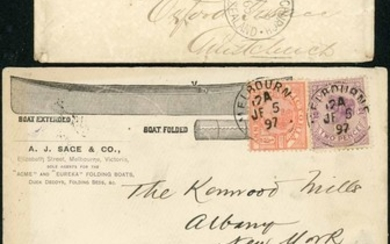 AN INTERESTING ASSEMBLY OF 1855-1997 COVERS AND CARDS in a s...