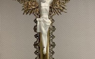 Altar cross in gilded wood, bronze with Christ in biscuit - Wood