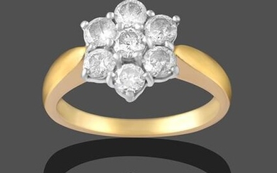 An 18 Carat Gold Diamond Cluster Ring, seven round brilliant...