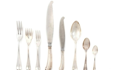 An Italian Silver Flatware Service and Two Florentine