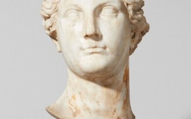 An Italian androgynous white marble bust