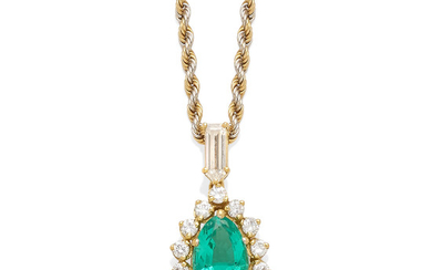 An emerald and diamond pendant with gold chain