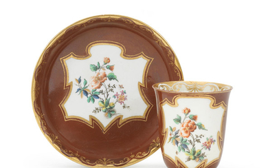 An extremely rare Capodimonte chestnut-brown-ground cup and saucer, circa 1750