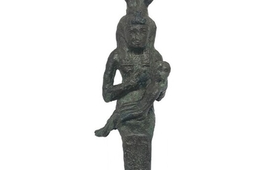 Ancient Egyptian Bronze figure of Isis with Horus, 16 cm EX-PIERRE BERGÉ