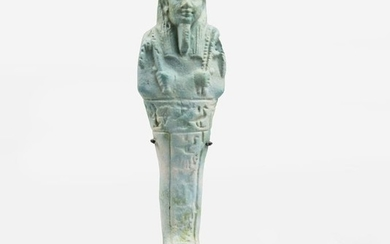 Ancient Egyptian Faience blue shabti for the Sameref priest and commander of the troops, Semataui - 11.5×3.6×3 cm