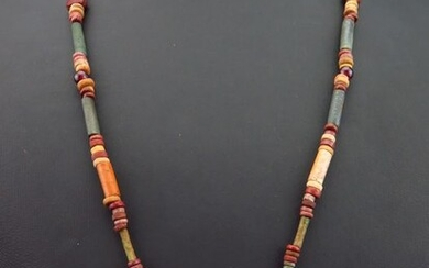 Ancient Egyptian chain of faience and carnelian mummy beads and stones Frog amulet - (1)