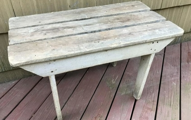 Antique 19th C Plank Top Coffee Table / Bench