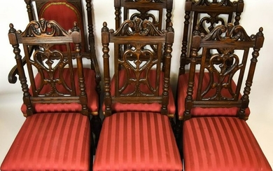 Antique Carved Jacobean Oak Dining Chairs