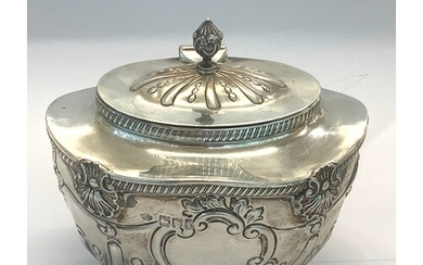 Antique silver tea caddy London silver hallmarks makers Will...
