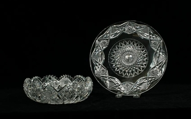 BRILLIANT PERIOD CUT CRYSTAL BOWL AND PLATE