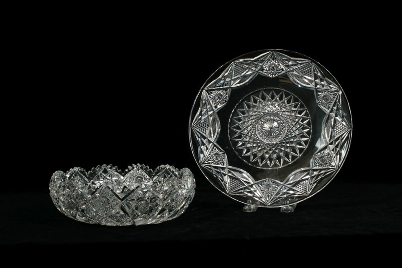 """BRILLIANT PERIOD CUT CRYSTAL BOWL AND SERVING PLATE C. 1900 DIA 8"""", 9"""""""