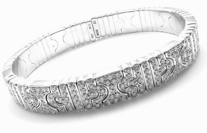 BULGARI BVLGARI Parentesi 18k White Gold Pave Diamond