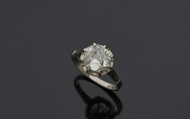 Ring in white gold, 18k 750‰, and platinum, 900‰, set...