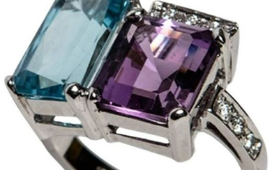 Blue Topaz and Purple Amethyst White Gold 18kt Ring